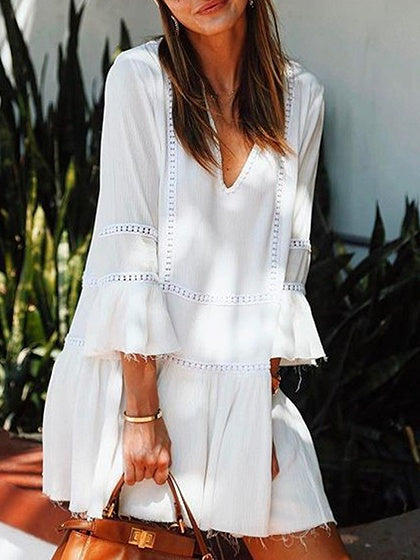 White V-neck Crochet Panel Flare Sleeve Mini Dress