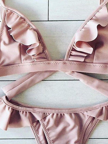 Pink Ruffle Trim Bikini Top And Bottom