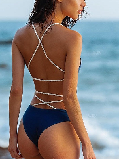 Navy Blue Cross Strap Open Back Swimsuit