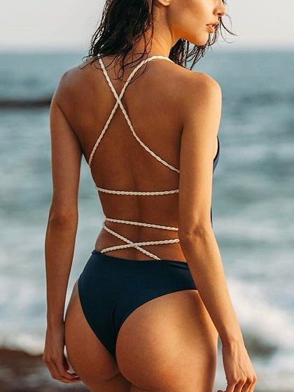Black Cross Strap Open Back Swimsuit