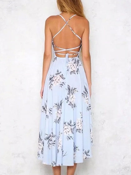 Blue Floral Print Cross Strap Open Back Hi-Lo Dress