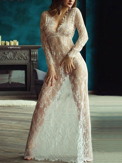 White Plunge Long Sleeve Sheer Lace Dress