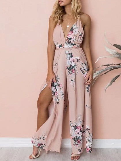 Pink Plunge Floral Print Cross Strap Open Back Jumpsuit