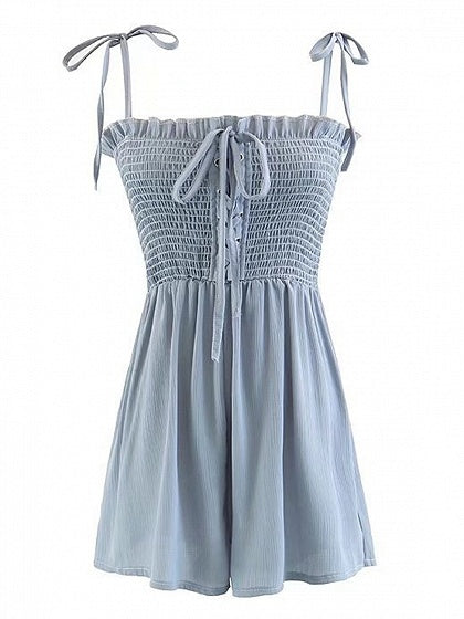Blue Spaghetti Strap Stretch Lace Up Front Romper Playsuit