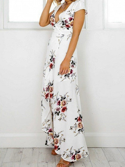 c137f9f24c81 White V-neck Floral Print Tie Waist Maxi Dress – MYNYstyle