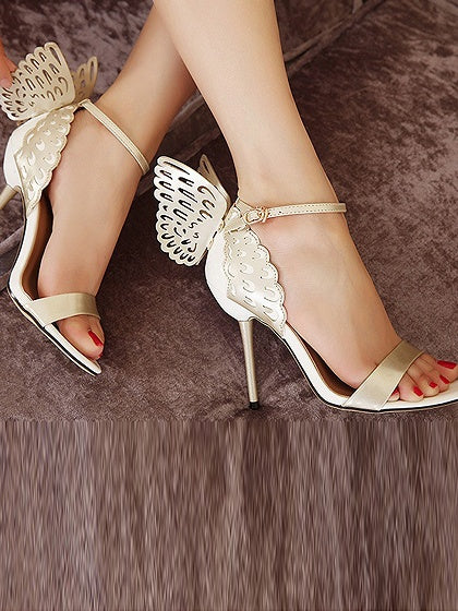 Gold Butterfly Style Leather Look High Heeled Sandals