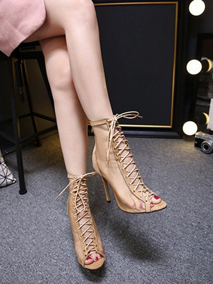 Beige Peep Toe Lace Up Detail Mesh Panel High Heeled Sandals