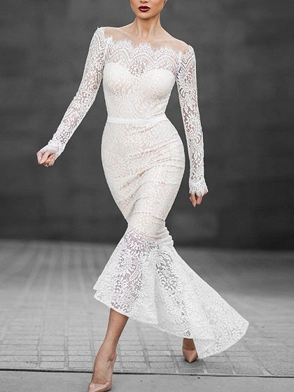 White Off Shoulder Long Sleeve Lace Dress