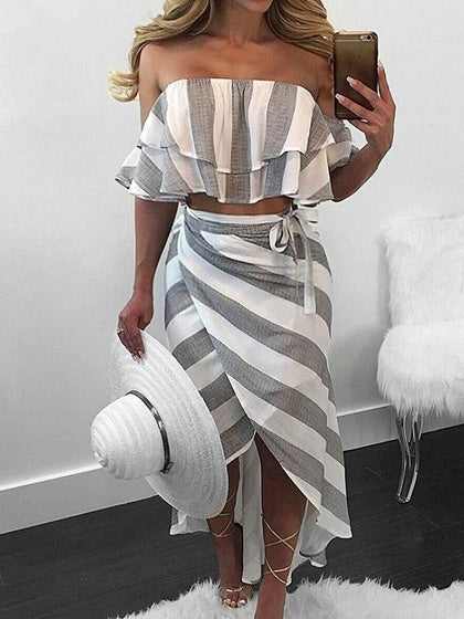 Gray Stripe Off Shoulder Two-piece Dress