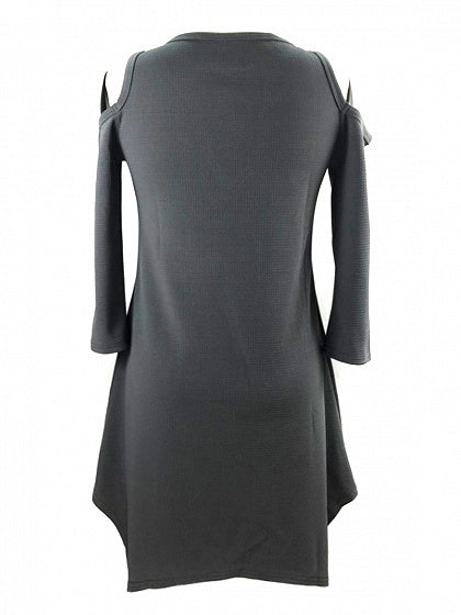 Gray Plunge Cold Shoulder Asymmetric Hem Mini Dress