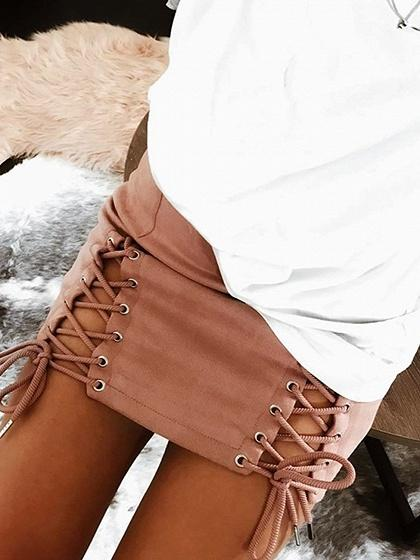 Lace Up Side Faux Suede Pencil Mini Skirt