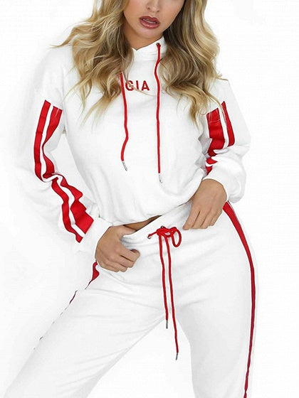 Stripe Embroidery Letter Long Sleeve Hoodie And Pants