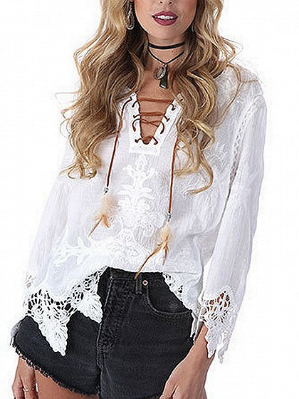 5f72ac86d0 Lace Up Front Lace Panel Long Sleeve Blouse