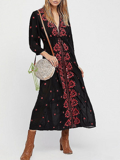 Black V-neck Tie Cuff Floral Embroidery Dress