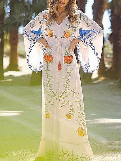 Plunge Embroidery Detail Flare Sleeve Maxi Dress