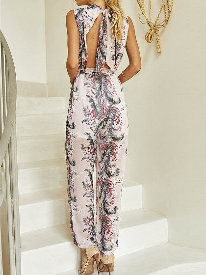 Pink Tie Waist Open Back Print Detail Jumpsuit