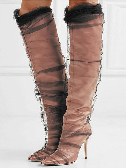 Leather Mesh Panel Pointed Heeled Knee High Boots