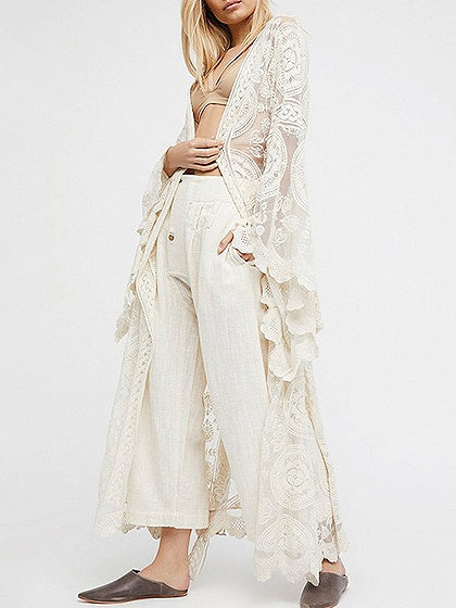 3df3be889090a White Tie Waist Open Front Flare Sleeve Lace Kimono