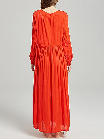 Orange Plunge Long Sleeve Maxi Dress