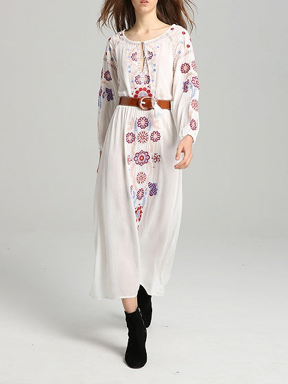 White Embroidery Detail Tassel Trim Long Sleeve Maxi Dress