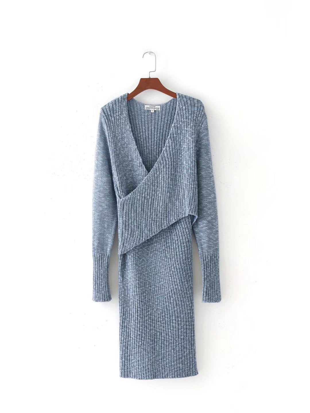 Blue V-neck Cross Front Long Sleeve Knit Dress