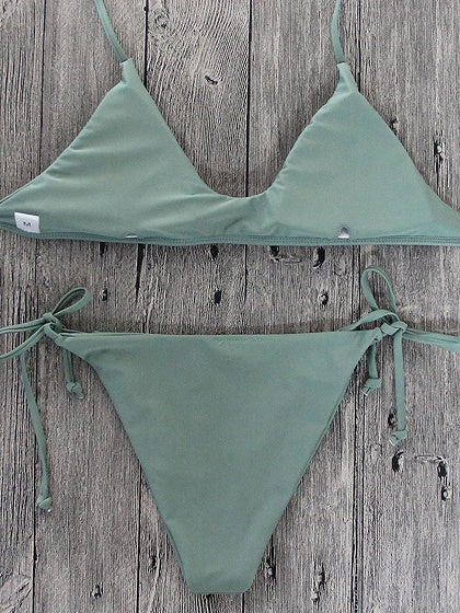 Army Green Halter Bikini Top And Bottom