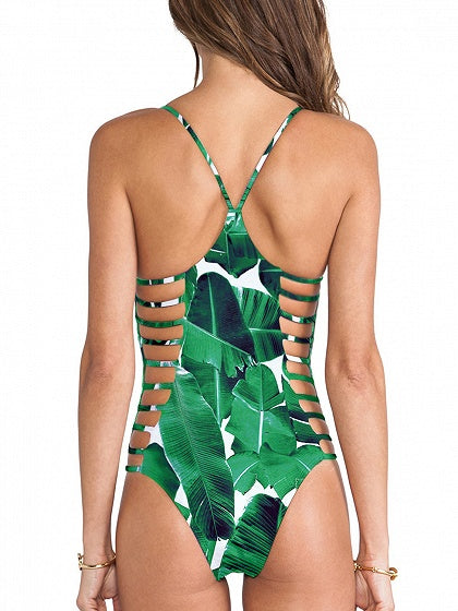 Green Leaves Print Cut Out Detail Swimsuit