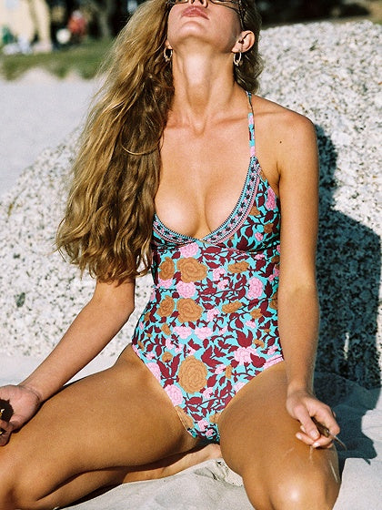 Polychrome Print Detail Cross Strap Open Back Swimsuit