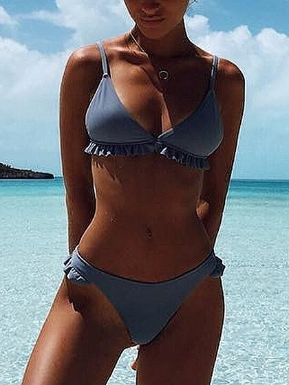 Blue Ruffle Trim Bikini Top And Bottom