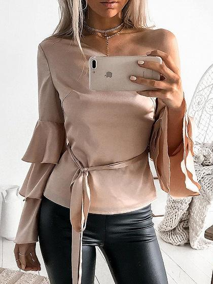 One Shoulder Tie Waist Flare Sleeve Blouse