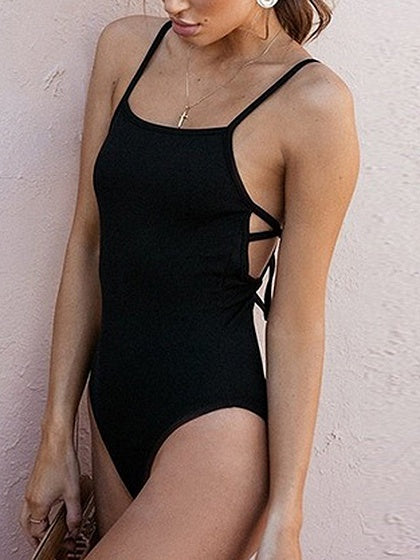 Black Spaghetti Strap Tie Detail Open Back Bodysuit
