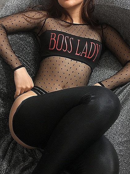 Black Letter Print Sheer Mesh Panel Long Sleeve Bodysuit
