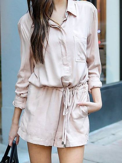 Drawstring Waist Long Sleeve Romper Playsuit
