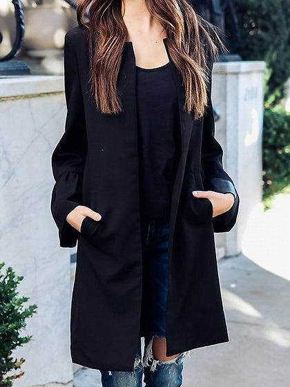 Black Open Front Long Sleeve Longline Coat