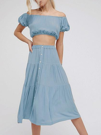Off Shoulder Crop Top And High Waist Midi Skirt