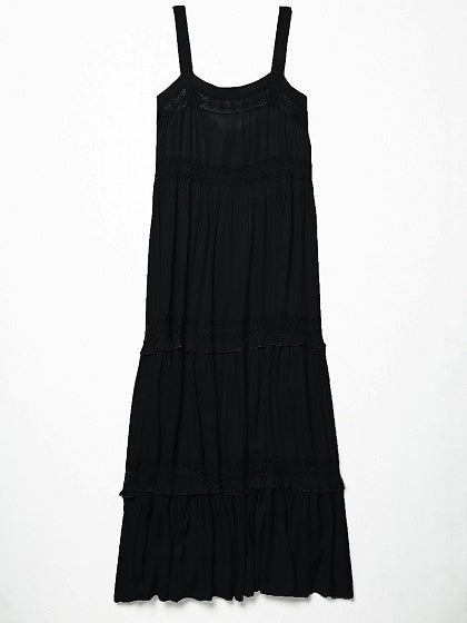 Frill Trim Lace Panel Maxi Dress