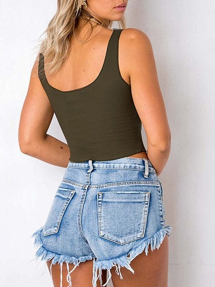 Button Placket Ribbed Crop Tank