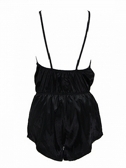Black Spaghetti Strap Plunge Open Back Romper Playsuit