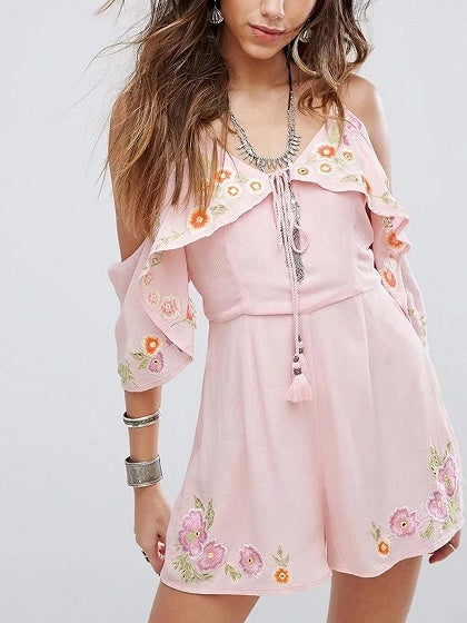 Pink Cold Shoulder Floral Embroidery Tassel Trim Romper Playsuit
