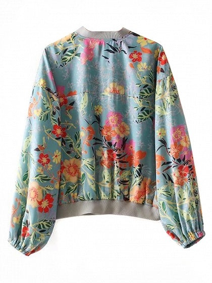 Polychrome Floral Print Long Sleeve Bomber Jacket