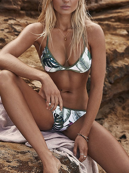 Green Leaves Print Bikini Top And Bottom