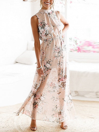 Khaki Floral Print Thigh Split Side Open Back Maxi Dress