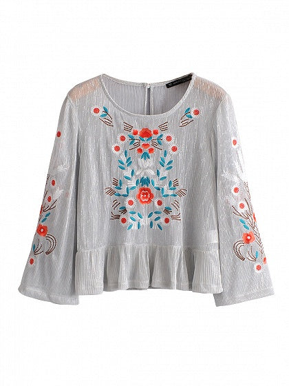 Silver Floral Embroidery Lurex Yarn Long Sleeve Blouse