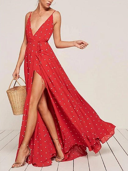 Red Spaghetti Strap Tie Waist Polka Dot Open Back Maxi Dress