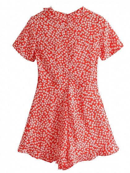 Red V-neck Floral Print Ruffle Trim Romper Playsuit