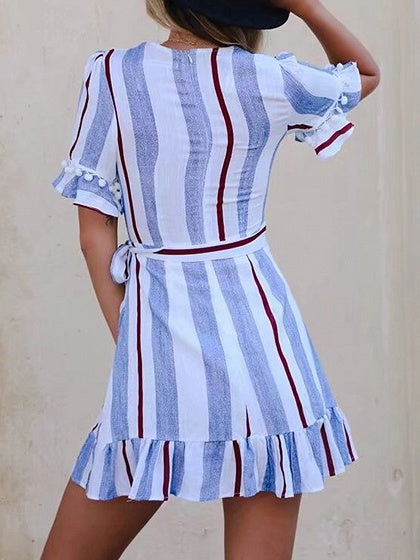 Light Blue Contrast Stripe V-neck Pom Pom Detail Mini Dress