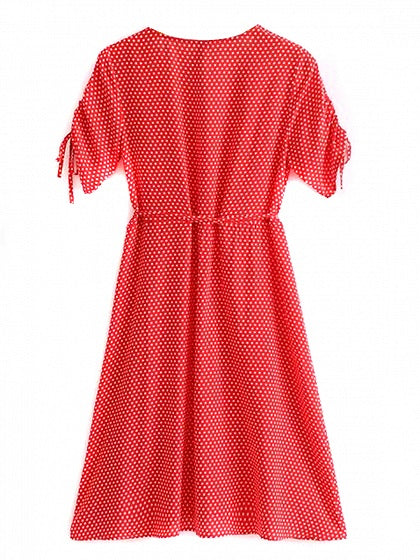 Red V-neck Polka Dot Drawstring Cuff Tie Waist Mini Dress