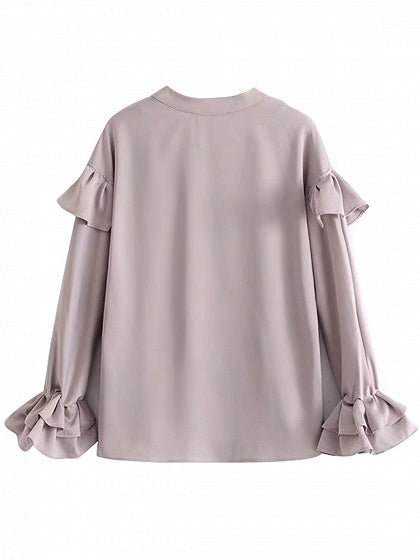 Gray Satin Look V-neck Ruffle Trim Long Sleeve Shirt