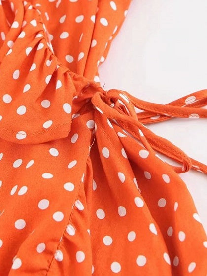 Orange V-neck Tie Waist Ruffle Trim Polka Dot Mini Dress