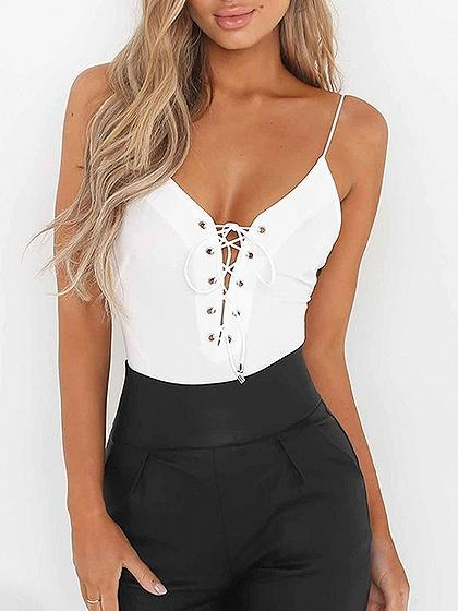 Spaghetti Strap Plunge Lace Up Detail Open Back Bodysuit